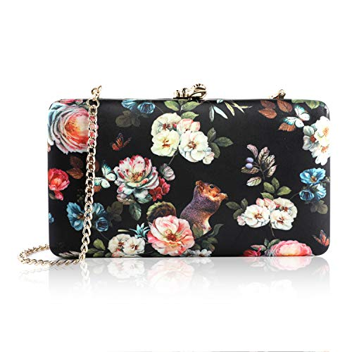 two the nines Flower Clutch for Women, Evening Bag Floral Print Clutch Bag Wedding Bride Clutch Purse Handbags, Black
