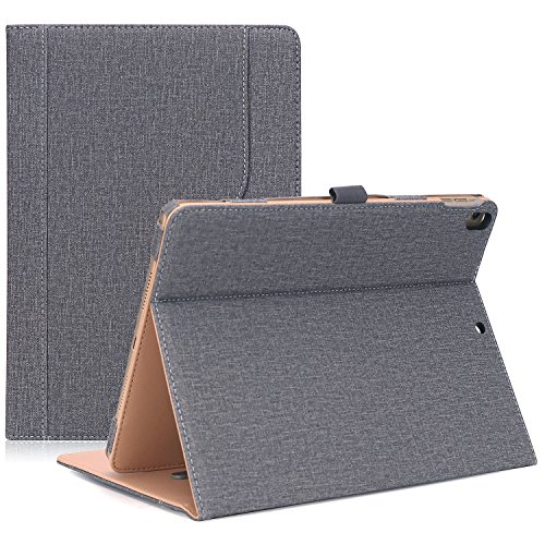 ProCase iPad Air (3rd Gen) 10.5' Case 2019, Vintage Stand Folio Case Cover for Apple iPad Air (3rd Gen) 10.5' 2019 and iPad Pro 10.5 2017, Multiple Viewing Angles, with Apple Pencil Holder -Grey