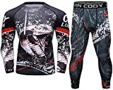 Red Plume Men's Compression Pants Shirt Top Long Sleeve Set Suit/Men's Workout Set with Long Sleeve T-Shirt and Leggings (Style F, L)