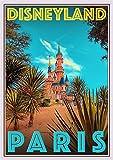 StickIt2Me Disneyland París Francia Art Deco Retro Travel Poster, A2