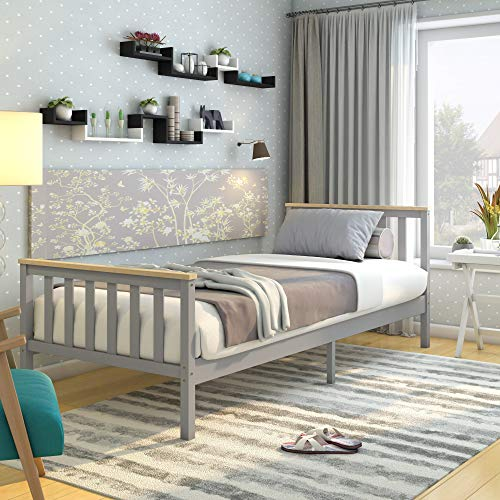 Panana Single Bed Solid Wood Bed Frame 3ft White Wooden (Grey + Wood)
