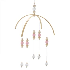 Nordic Style Wind Bell Wooden Beads Wind Chimes for Kids Bed Baby Crib Mobile Bed Hanging Decor Photography Props(Pink White)