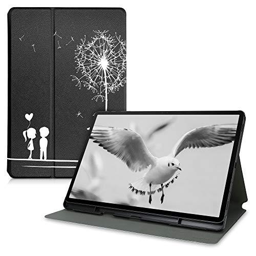 kwmobile Custodia Compatibile con Samsung Galaxy Tab S7 Plus - Cover Tablet con Supporto - Copertina in Pelle PU Smart Case con Stand - Amore Bianco/Nero