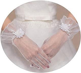 Women's Bride Wedding Gloves White Short Full Finger Lace Bridal Glove Soft Tulle Prom Dress Accessories