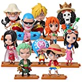 zdfgv 10 pz/Lotto Anime One Piece Action Figure Set Luffy Figure Chopper Hancock Sanji Zoro Figurine Robin Nami Usopp Model Dolls 7-11 cm