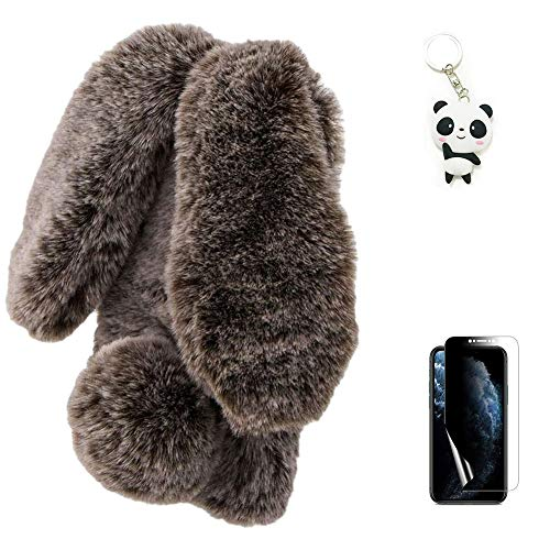 Artfeel Plush Rabbit Case for Samsung Galaxy Note 20 Ultra,Cute Furry Bunny Ears Hairball Soft Fluffy Fuzzy Winter Warm Case Faux Fur Silicone Bumper Phone Cover with Glitter Diamond,Brown