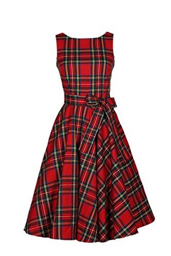 Las Mujeres Hepburn Retro Cuadros sin Mangas Vintage Swing cóctel Vestido de Fiesta Bowknot Red L