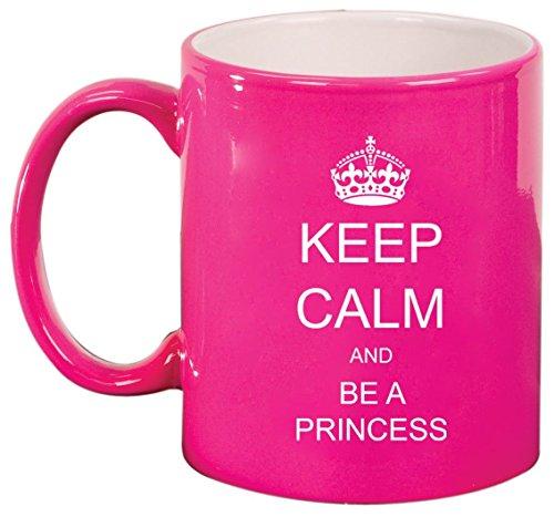 Keep Calm and Be A Princess Ceramic Coffee Tea Mug Cup Hot Pink by MIP