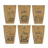 LOMYLM 12 sacchetti di carta stampati con coniglietti, polli, uova/fiori, 18 adesivi per uova di Pasqua, decorazione pasquale, per fai da te e regali