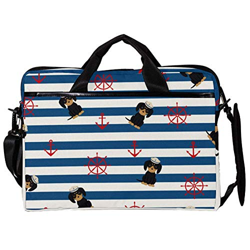 TIZORAX Laptop Messenger Shoulder Bags Nautical Doggy with Anchor Wheels Computer Sleeve Notebook Carrying Case 15-15.4 inch Handbag