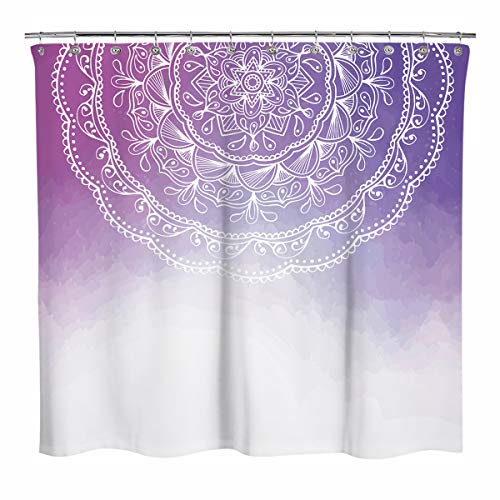 Sunlit Design Watercolor Bohemian Mandala Pattern Fabric Shower Curtain, Peace and Meditation Bathroom Decoration Boho Shower Curtains, Gradient Red and Purple