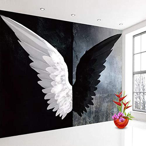 Murales, fotobehang, persoonlijkheid, creatief design, engel, wit, zwart, demo, vleugels, grote afmetingen, kunstdruk, poster voor Mall Negozio voor KTV Bar Hotel Decor 116in×192in 290cm(H)×480cm(W)