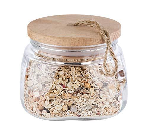 """APS Vorratsglas """"Woody"""" – Hochwertiges Glasbehältnis mit Deckel aus Holz – Durch die Silikondichtung bleibt das Aroma des Inhaltes länger vorhanden – 1 Liter, Aufbewahrungsbehälter"""