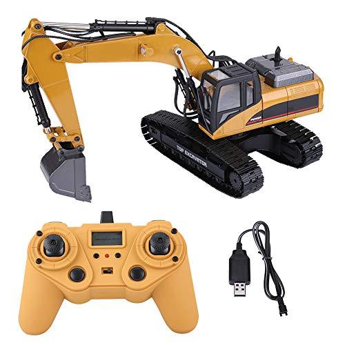 Juguete teledirigido del excavador de RC del camión, 1:14 2.4G 3 en 1 RC Vehículo de ingeniería de excavadora eléctrica Modelo de excavadora de control remoto con luces Regalos para niños y adultos