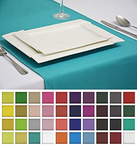 Rollmayer Edle Tischläufer Tischdecke Tischtuch Tischwäsche Pflegeleicht Kollektion Vivid (Türkis 17, 40x140cm)