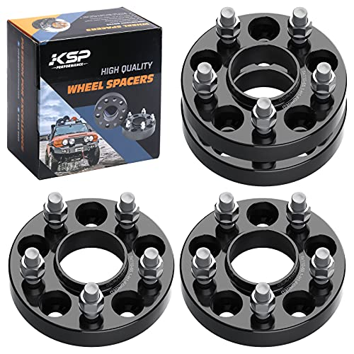 """KSP 5X110 Wheel Spacers Fit for Renegade Cherokee KL 2014-2019,1"""" M12x1.5 Lug Studs 65.1mm Bore Forged Hubcentric Adapter for Compass MP, Cobalt HHR SS, Saab 9-3, Saturn Sky 5 Lug"""