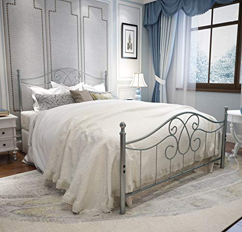 YERPERFO Vintage Sturdy Metal Bed Frame Queen Size with Vintage Headboard and Footboard Platform Base Bed Frame No Box Spring Needed Steel Bed,Gray Silver,Queen.