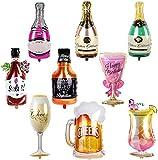 BESTZY Foil Ballons Géant Ballon Champagne Whisky Shaker Champagne Bière Coupe Bouteille Verres à Vin Flottant Party Ballons Décoration Fleuret Ballons