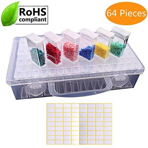 Sunshine smile 64 Diamond Painting Box,Diamant Stickerei Sortierbox,Sortimentskasten,sortier Boxen,Werkzeugcontainer,Plastik aufbewahrungsbox mit Deckel,Schmuckschatulle!