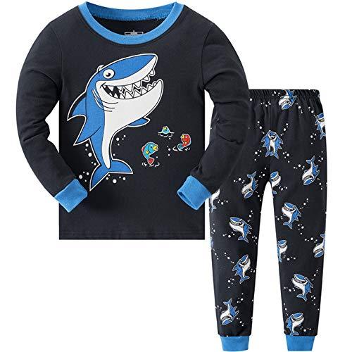 Schlafanzug Jungen, Pyjama Kinder Junge, 100% Baumwolle Lang PJ Jungs, Hausanzug...