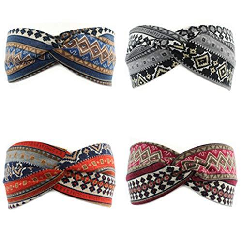 Qhome 4 Pack Women Cotton Elastic Bohemian Turban Headbands Twisted Head Band Headband Headwear Hairbands Bows Girls Hair Accessories