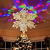 Ywlake Christmas Tree Topper Lights, LED Light Up Lighted Snowflake Christmas Top Topper Projecter with Projection for Indoor Outdoor Christma Tree Decor Decorations (Metal, Gold)