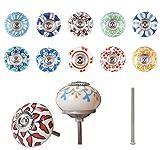KAILEE 12pcs Tirador Ceramica Vintage, Redondo Pomos y Tiradores de Muebles de Cocina Tiradores para Cajones Oficina Baño Hogar Tocador Gabinete con Tornillos Multicolores