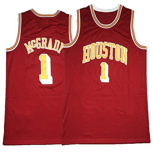 FGRGH Rockets # 1 McGrady - Camiseta de baloncesto con bordado rojo de Rockets T-Mac Etro S-XXL, unisex cómoda camiseta de baloncesto deportiva S (55 ~ 65 kg)