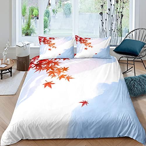 Juego de funda de edredón de hojas de arce rojo, juego de cama para niños, niñas, adolescentes, ropa de cama botánica y colcha de lino, sencillez, color blanco, 3 piezas con cierre de doble tamaño