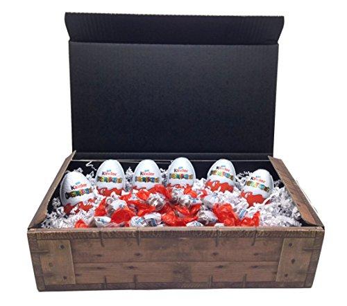 Kinder Schoko-Bons + Überraschungseier (Ü-Ei) Schatztruhe - 300g Schoko-Bons + 6 Ü-Eier in Geschenkkarton mit Schatzkisten Optik