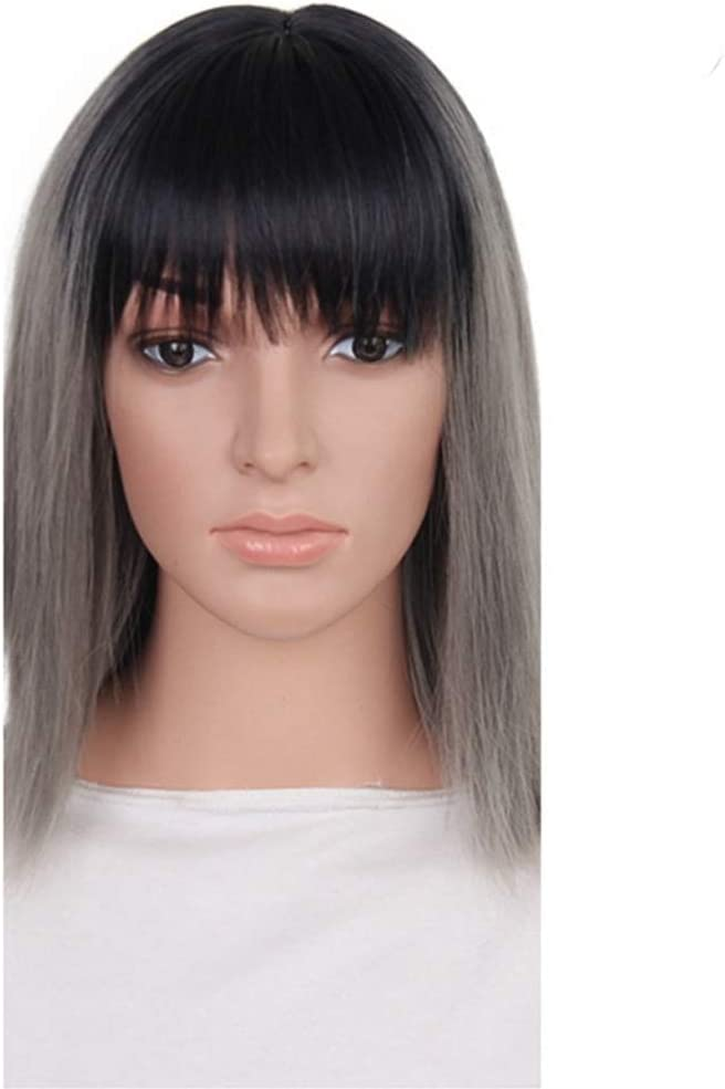 Wig Gray Short bobo Hair Synthetic Qi safety Liuhai N Two-Color Max 69% OFF