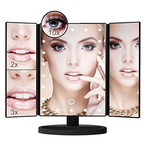 Espejo maquillaje Espejo tocador iluminado tres pliegues con 22 luces LED Atenuación la pantalla táctil 10X 3X 2X 1X Espejo aumento Dos modos fuente alimentación Espejo maquillaje sobremesa Espejo c
