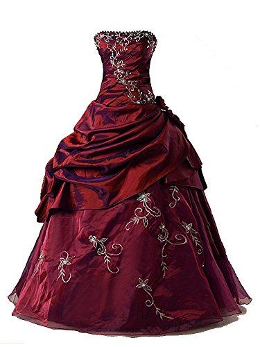 Vantexi Damen Formales TAFT Abschlussball Kleid Ballkleid Quinceanera Kleider Burgund Größe 50