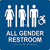 ADA ALL GENDER RESTROOM SIGN - Acrylic Tactile with Braille Grade II 8' x 8' Blue/White