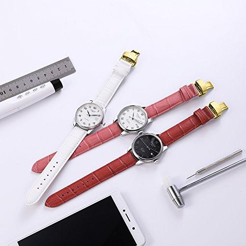 『iStrap 時計ベルト 17mm 18mm 19mm 20mm 21mm 22mm 24mm6色 カーフレザー腕時計バンド 革ベルト ゴールデンDバックル尾錠付き』の2枚目の画像
