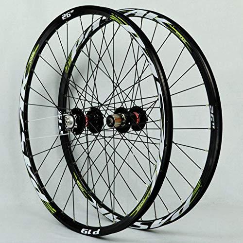 Rueda de bicicleta de montaña Set 26 / 27,5 / 29 pulgadas de aleación de aluminio Lamer 32H del freno de disco de liberación rápida del cassette del eje de rueda libre NOVATEC Negro + verde de la mues