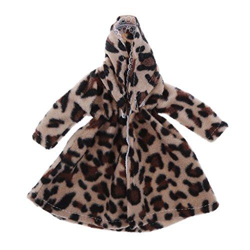 MagiDeal 1/6 estilo de moda cómodas muñecas vestido completo casual desgaste pantalones traje para muñecas Barbie 12 pulgadas Accesorios – abrigo de felpa de leopardo, como se describe