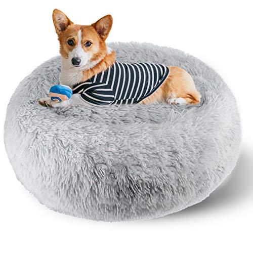 ETACCU Cama Redonda de Felpa para Gatos, casa para Perros, Cama para Mascotas, Cama para Mascotas pequeña con Forma de rosquilla Suave y cómoda 50 /60 / 70CM (60cm, Gris Claro)