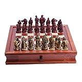 RJJX Home Tarjeta de ajedrez de Madera la decoración del hogar + Resina de ajedrez Juguete Educativo Juego de ajedrez de Inicio de Escritorio Decoraciones, 2 Opcional (Color : B)