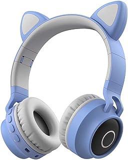 NBJ Wireless Bluetooth 5.0 Headphones, Cartoon Style Cute Over-ear Headset FM Radio TF Card Reading 3.5mm Wired Earphone H...