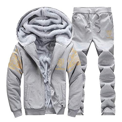 FRAUIT Herren Kapuzenjacke Fleece Zipper Top-Hosen-Sets Jacke Herbst Winter Mantel Sweatshirt Trainingsanzug Outdoorjacke Top Outwear Bluse Mode Warm Atmungsaktiv Bequem Jumper M-4XL