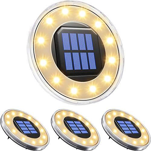 ソーラーライト 屋外 埋め込み式 水陸両用 ガーデンライト 4個セット IP68防水 太陽光パネル充電 防犯対策 光センサー 12LED 高輝度 自動点灯/消灯 玄関先/庭/芝生/車道/歩道 (電球色)