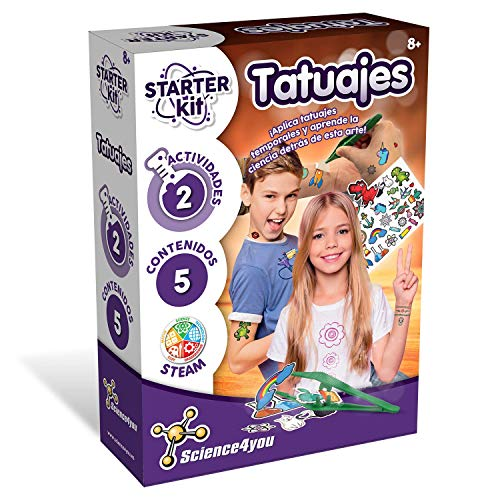 Science4you-Science4you-Starter Kit Tatuajes – Juguete Científicos y Educativo, Multicolor, 8 Años (80002586)