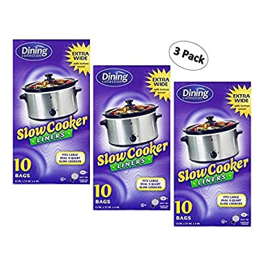 Crock Pot Liners By Dining Collection,Extra Wide, Fits All Crock Pots and Slow Cookers, Extra Large (3 Pack)