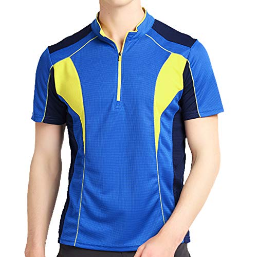 LY4U Men's Cycling Jersey Long Sleeve and Short Sleeve Biking Running Gym Sports Zip Neck Tops Quick Dry Breathable Mountain Bike MTB Shirt Racing Training Bicycle Clothes