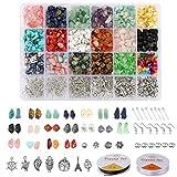 Mengxin 1051 Piezas Abalorios de Piedras Naturales 18 Colores Piedras Preciosas Irregular Sueltas Piezas para Hacer Pulseras Traje para Bricolaje Collares Joyería Accesorios