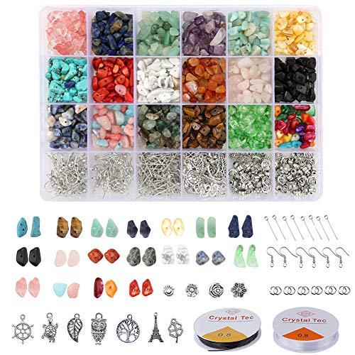 Mengxin 1051 Pezzi Perline di Pietre Preziose Pietre per Bigiotteria Fai da Te Irregolare 18 Colori Pietre e Cristalli Naturali Componenti per Orecchini Braccialetto Collana Anelli