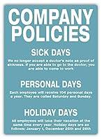Company Policies ティンサイン ポスター ン サイン プレート ブリキ看板 ホーム バーために