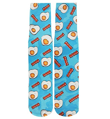 Benefeet Sox Mens Boys Funny Crazy Socks Cool 3D Print Graphic Character Athletic Sports Novelty Crew Socks Gift Blue Eggs Bacon