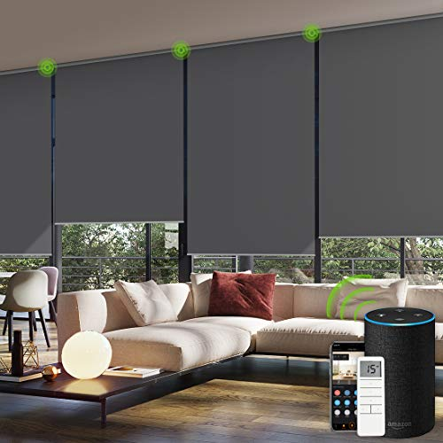 Yoolax Motorized Window Roller Shades Blinds Wireless Remote Control Blackout Fabric Shades for Home and Office Customized (Dark Grey)
